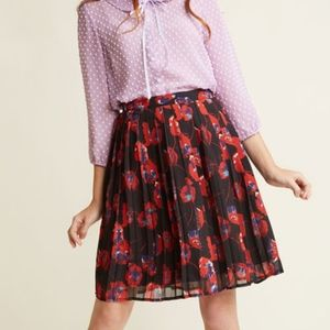 Modcloth - Pleated Chiffon Poppies A-Line Skirt